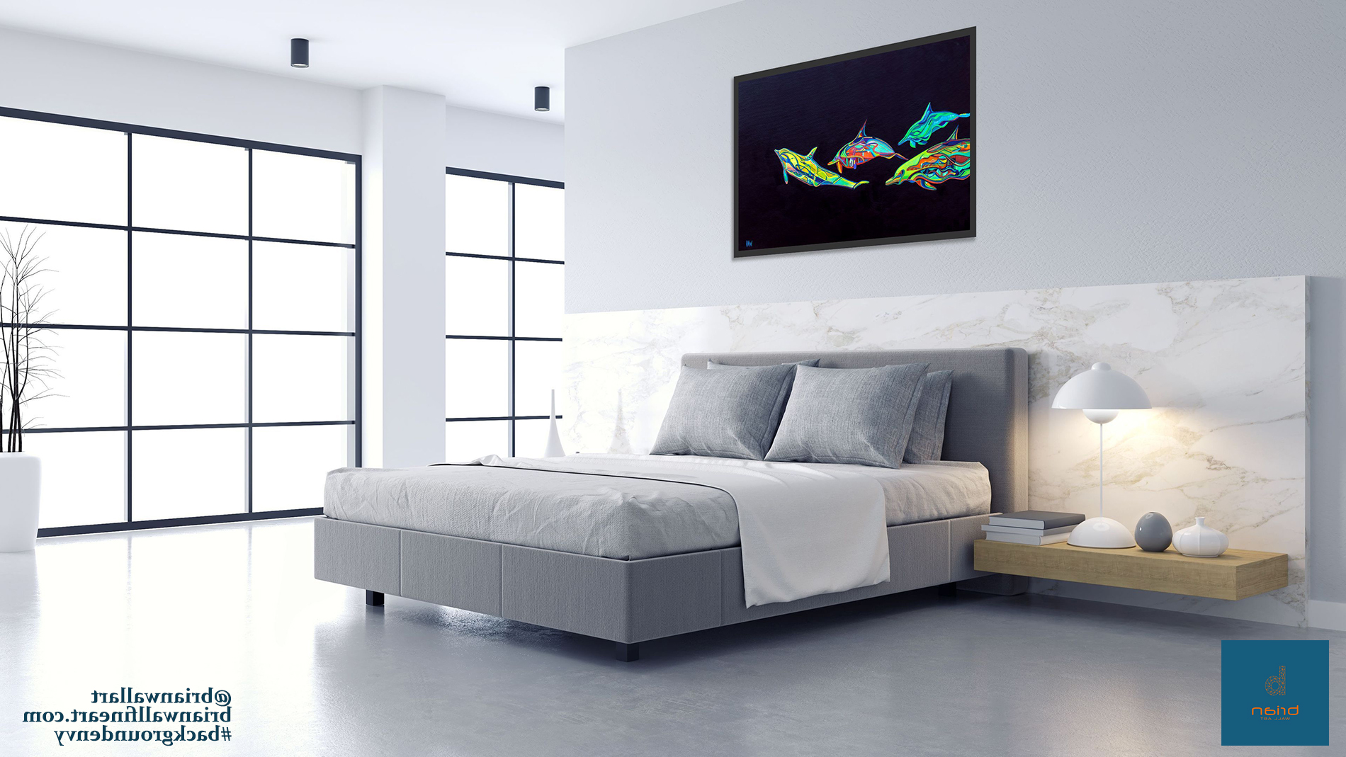 4 Dolphins in gray bedroom