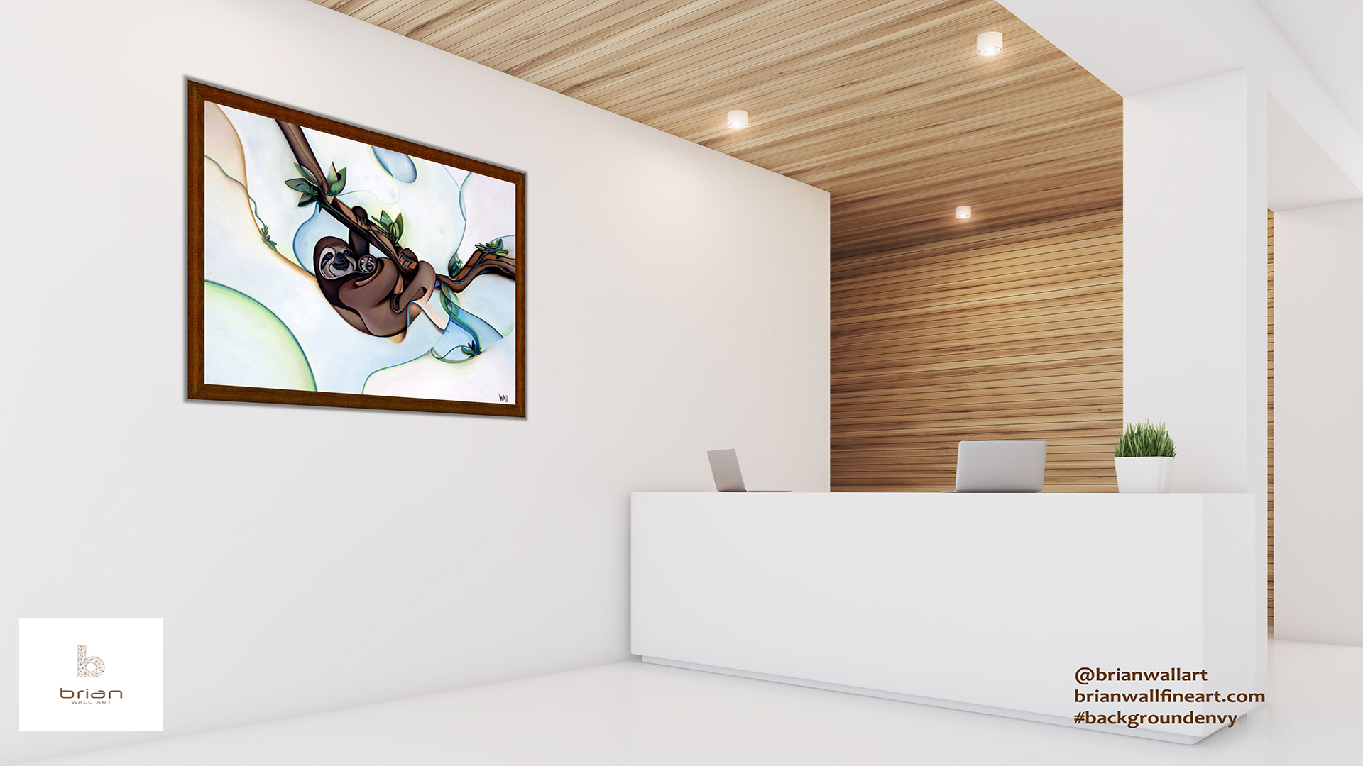 Sloth and Baby by Brian Wall Art